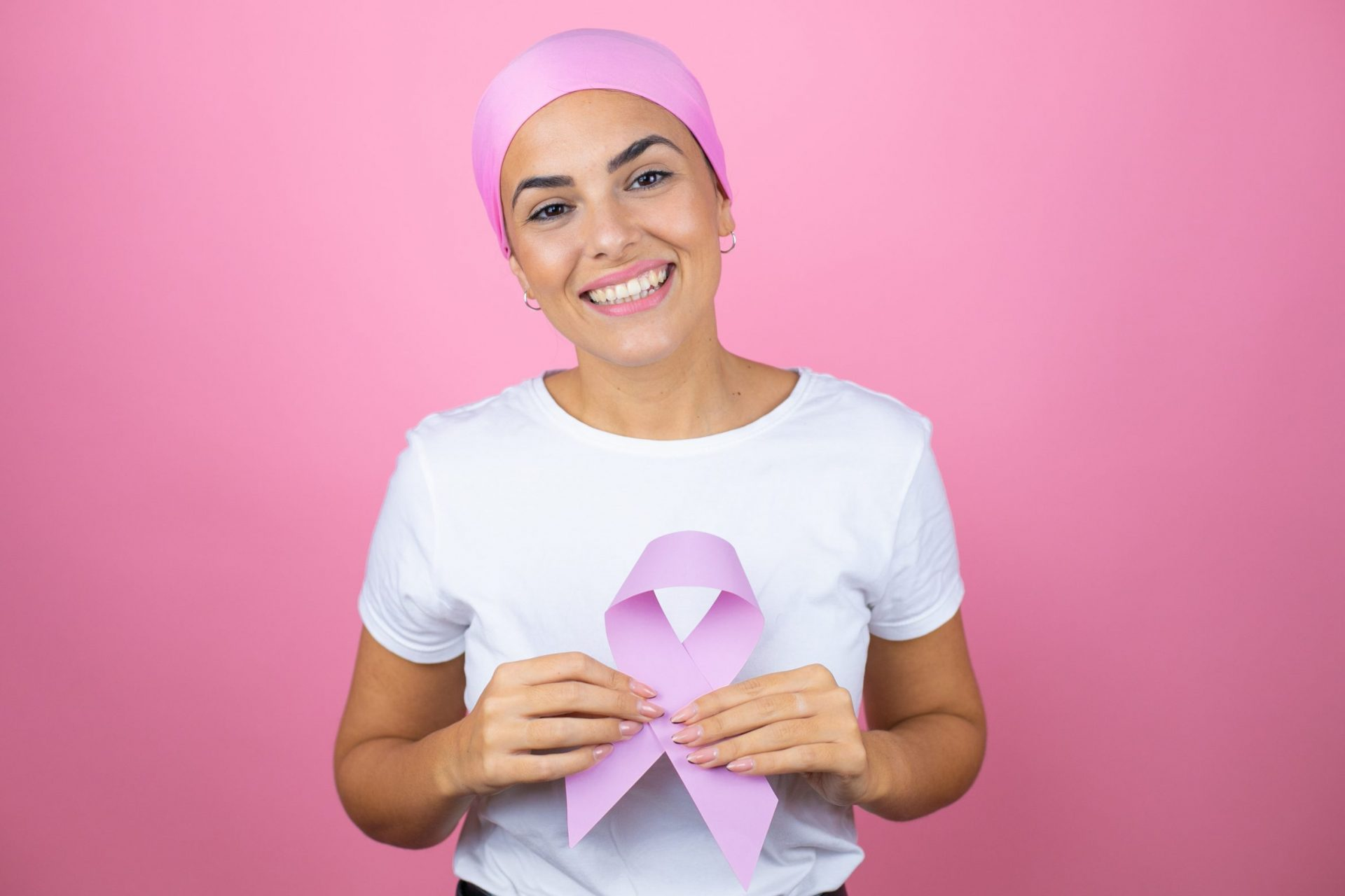 Young woman breast cancer ribbon