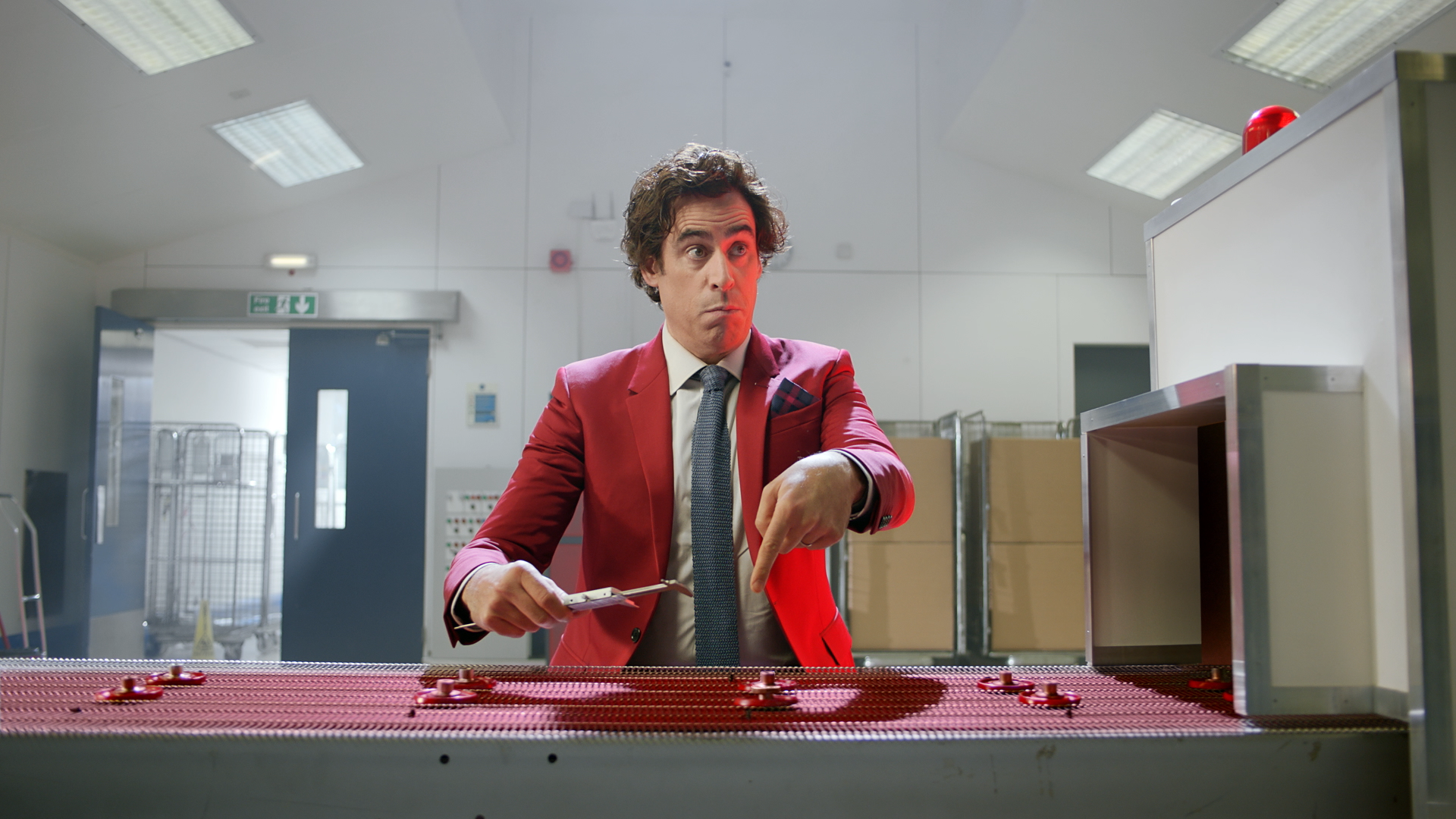 still of Stephen Mangan from Vodafone UK's 'Let's Talk IoT' campaign video