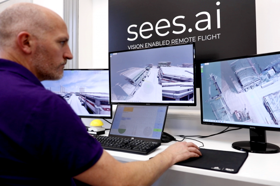 Sees.ai engineer remotely controlling drone in flight
