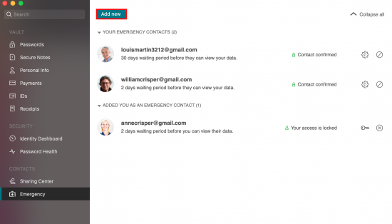 a screenshot showing Dashlane's Emergency contacts feature