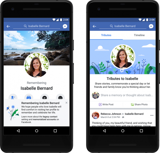 example image of a memorialised Facebook account displayed on an Android phone