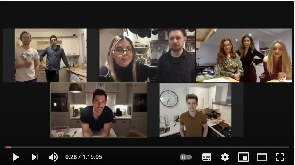 Screenshot of participants on video call.