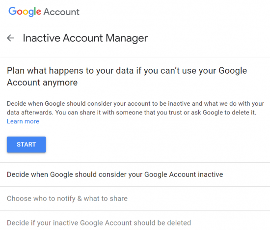 a screenshot of Google's Inactive Account Manager