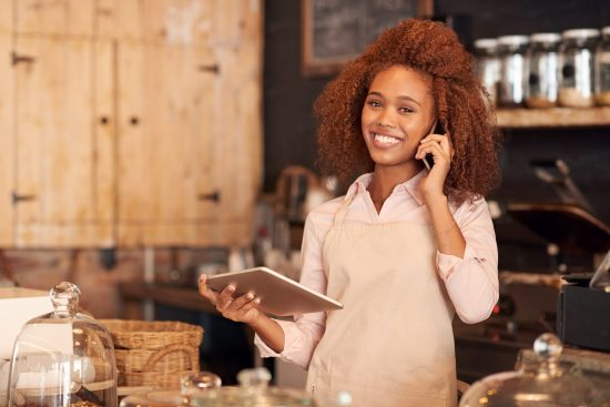 Small Business Connectivity - woman ordering cafe supplies