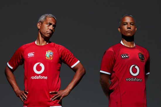 Jeremy Guscott sports British & Irish Lions jersey sponsored by Vodafone