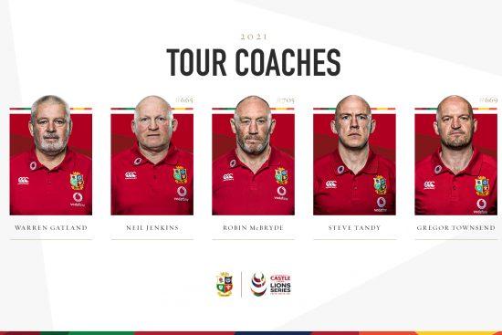 2021 British & Irish Lions coaches: Warren Gatland, Neil Jenkins, Robin McBryde, Steve Tandy, Gregor Townsend