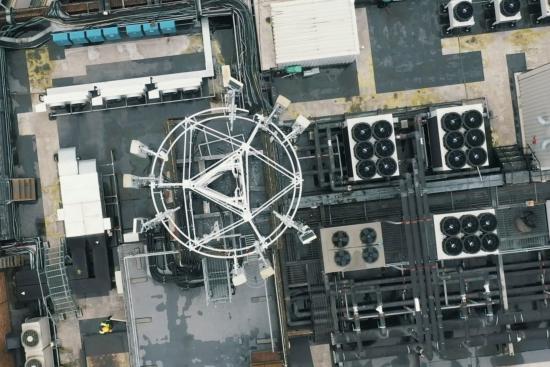 Image of 5G mast at the Vodafone Speechmark, London
