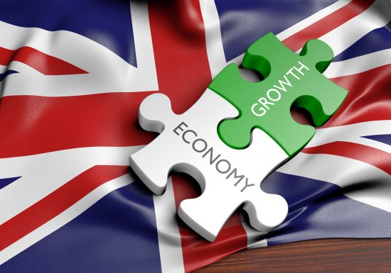 Economy Growth jigsaw pieces on Union Jack