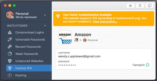 screenshot of the 1Password password manager program