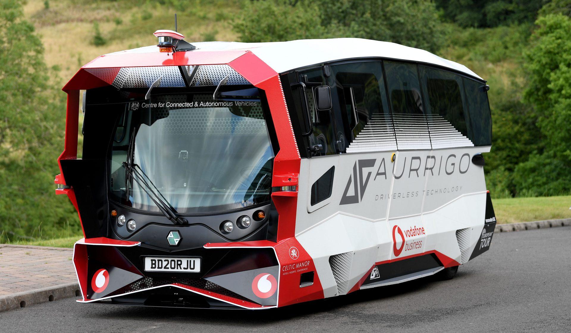 image of an Aurrigo autonomous shuttle bus