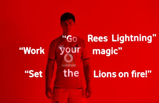 image of rugby player Louis Rees Zammit with messages from fans