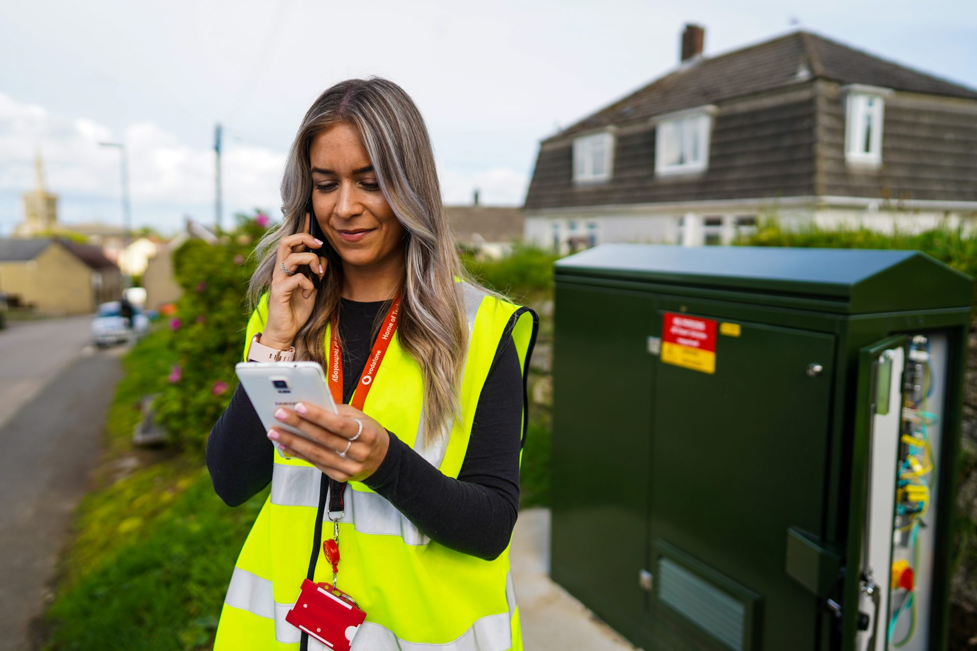 photo of a Vodafone engineer testing an OpenRAN site in St Keverne, Cornwall.