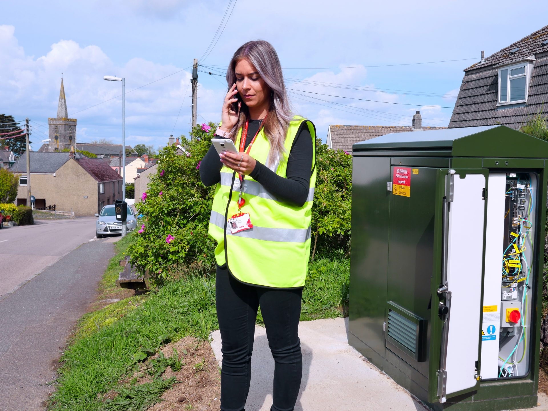 photo of a Vodafone engineer testing an OpenRAN site in St Keverne, Cornwall