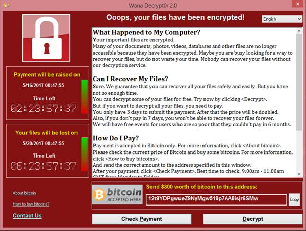 screenshot of the WannaCry ransomware