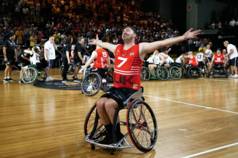 Daniel Bingley during wheelchair basketball game