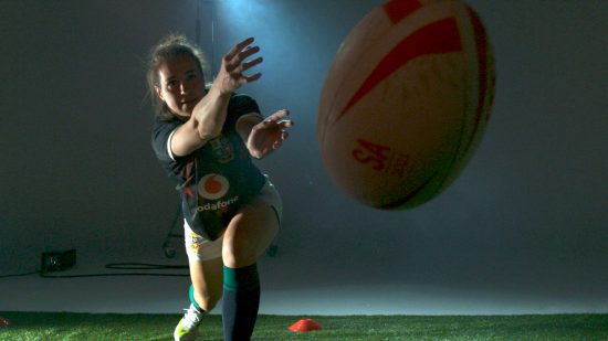 promotional image of rugby player Emily Scarratt and Vodafone PlayerConnect
