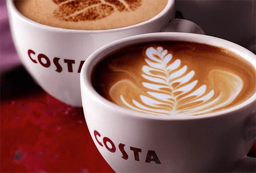 Two cups of Costa Coffee