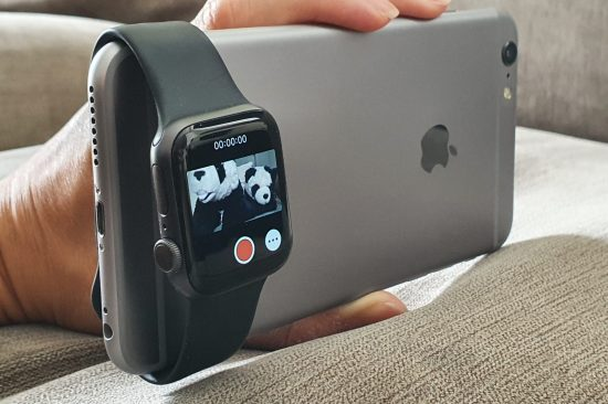 illustrative photo of the Apple Watch's Remote Camera viewfinder app in use