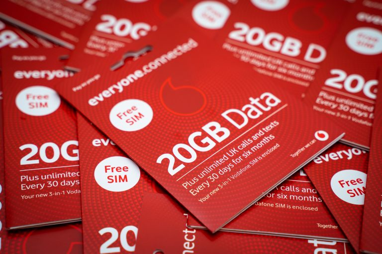 illustrative image of a Vodafone 20GB charities.connected SIM card
