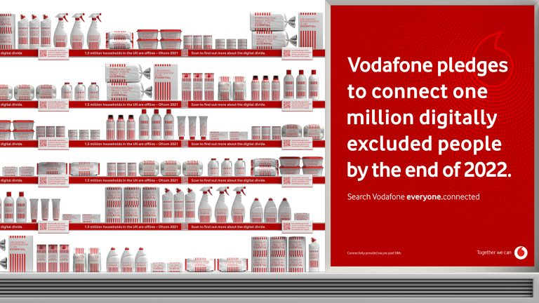 a close-up image of Vodafone and Global's installation highlighting digital poverty