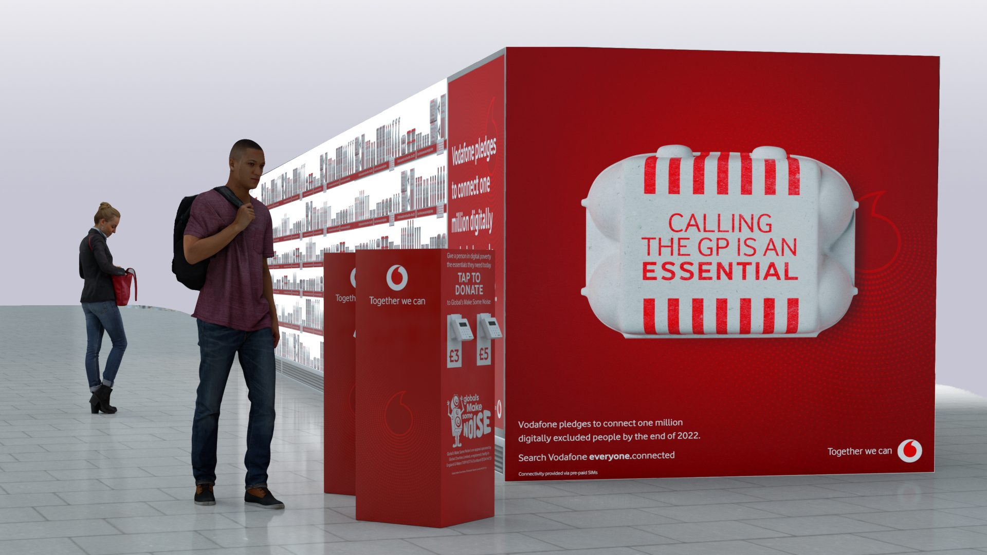 mock-up image of Vodafone and Global's digital poverty art installation