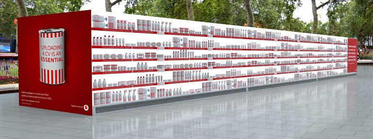 an outdoor mock-up of Vodafone and Global's installation illustrating digital poverty