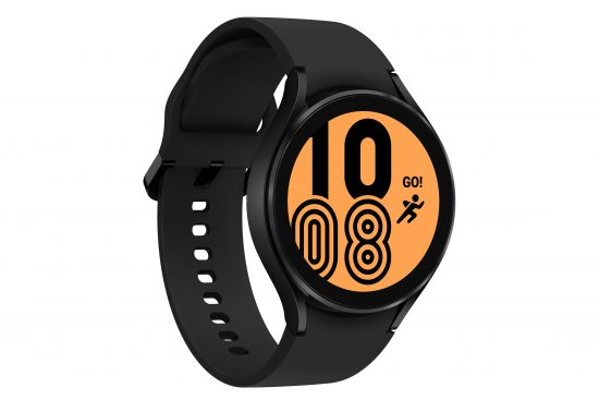 illustrative image of the 44mm Samsung Galaxy Watch 4 with an orange watchface