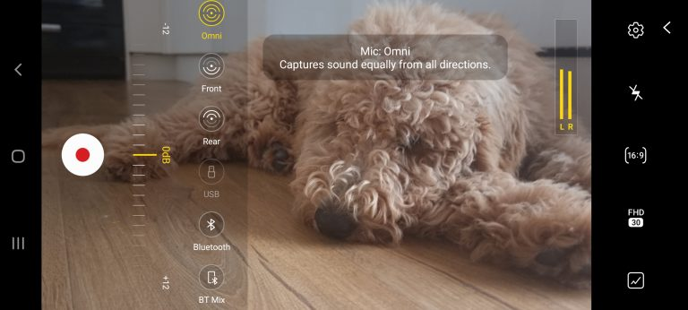 screenshot of the Camera app on a Samsung Galaxy S21 smartphone showing the Bluetooth mic option