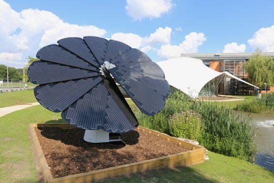 Image of a Smartflower solar panel at Vodafone HQ, Newbury.