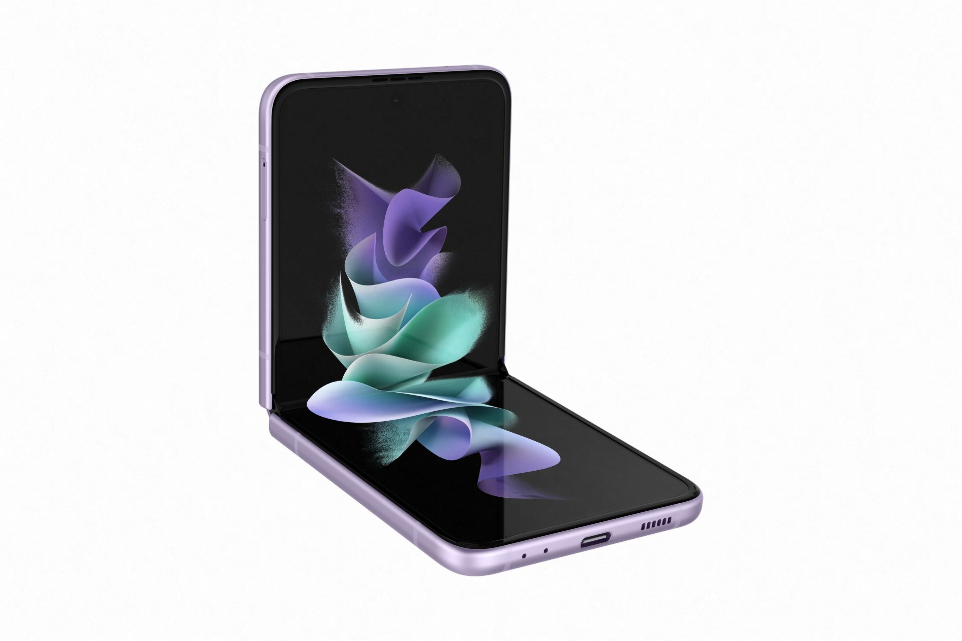 an illustrative image of the Samsung Galaxy Z Flip3 flipped open and placed on a tabletop