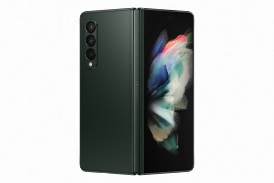 illustrative image of the Samsung Galaxy Z Fold3 from the rear as it is opened