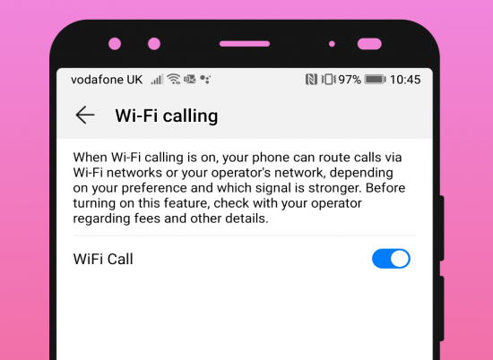 illustrative image of the WiFi Calling setting in the phone app on a Huawei Android phone