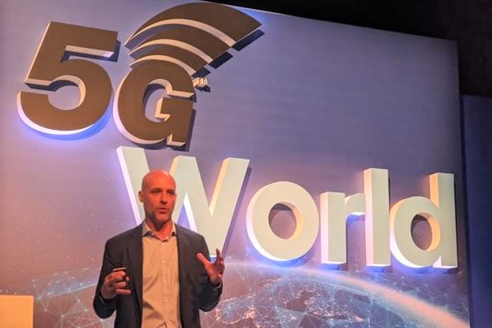 Andrea Dona speaking at 5G World conference