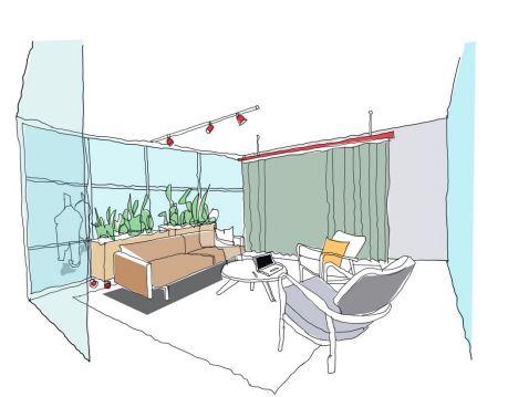 Sketch of informal office meeting space