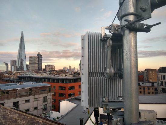 Rooftop image of new 5G radio antenna