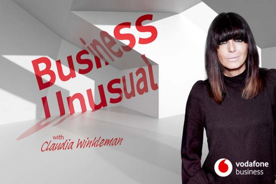image promoting season 2 of Vodafone's Business Unusual podcast with Claudia Winkleman