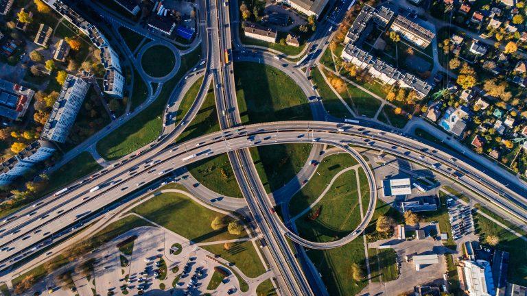Motorway junction, aerial view