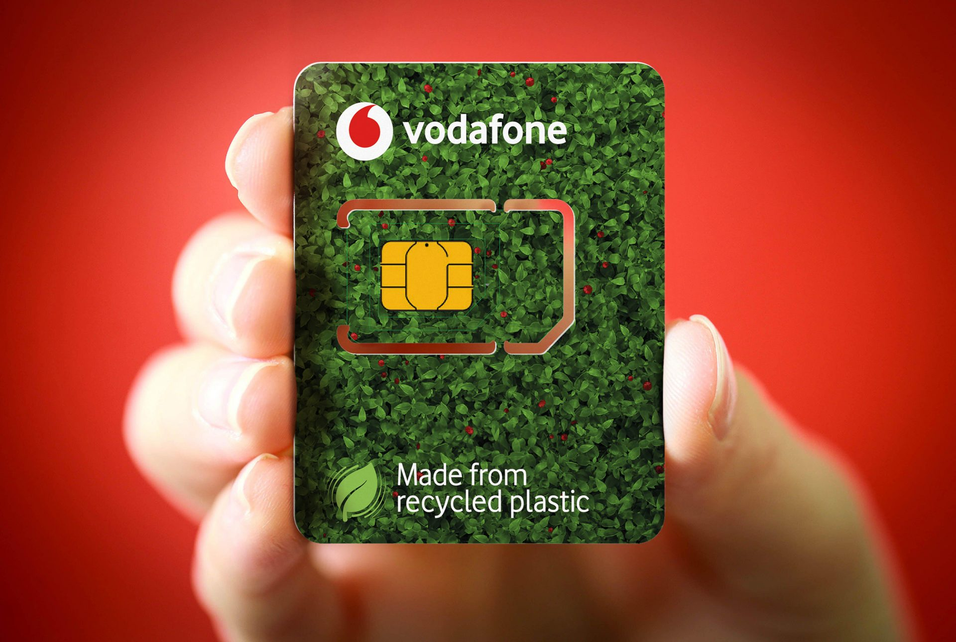 illustrative photo of a Vodafone Eco-SIM card made from 100 per cent recycled plastic